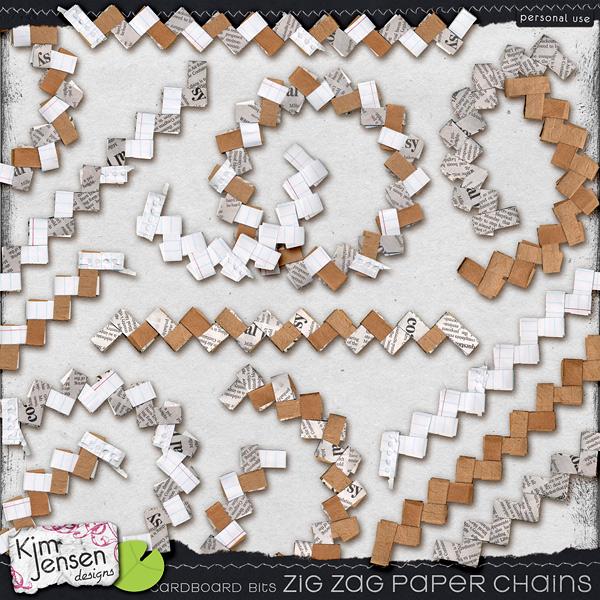 Cardboard Bits - Zig Zag Paper Chains