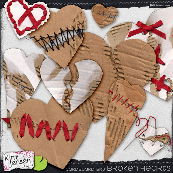 Cardboard Bits - Broken Hearts